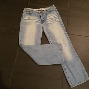 Rampage Flood Ankle Jeans with Raw Edge Waist